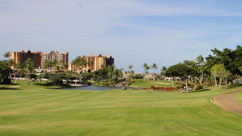 Ko Olina Golf 18th Fairway with Disney Hotel in background