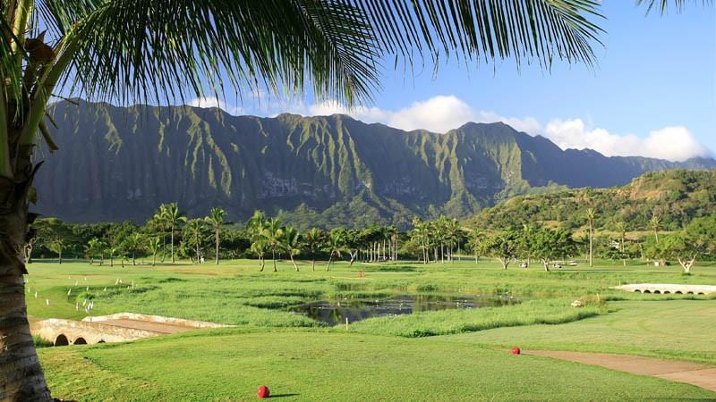 Olomana Golf Links with ponds and great views of mountains