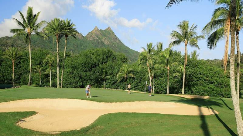 Olomana Golf Course with beautiful bunkers and perfect greens