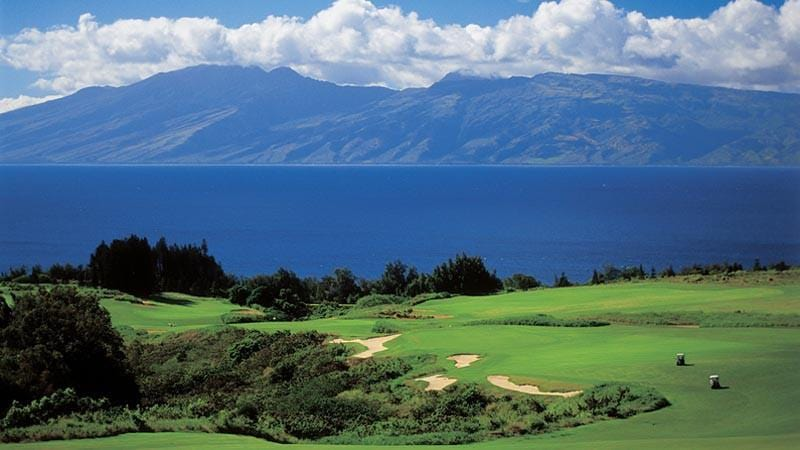 Kapalua Plantation famous 18th hole with Molokai in background