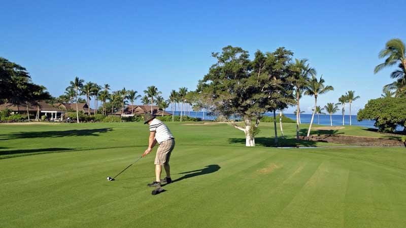 Teeing off on The 3rd hole at Mauna Lani in Hawaii