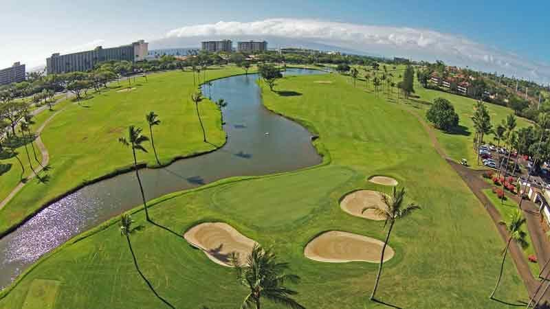 view of the 1st and 18th hole at Kaanapali Royal from Drone HTT
