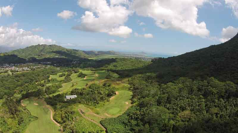 Royal Hawaiian Front nine from drone  Hawaii Tee Times