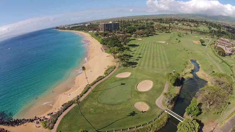 Aerial view of Kaanapali Royal from the Drone high above Sheraton