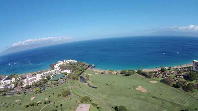 Kaanapali Royal aerial view from drone high up with views of Lanai and Molokai
