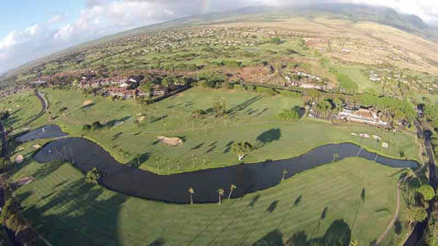 Kaanapali Royal aerial view of holes 1 and 18 with clubhouse