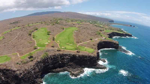 Aerial with Hawaii Tee Times Drone of Manele Course