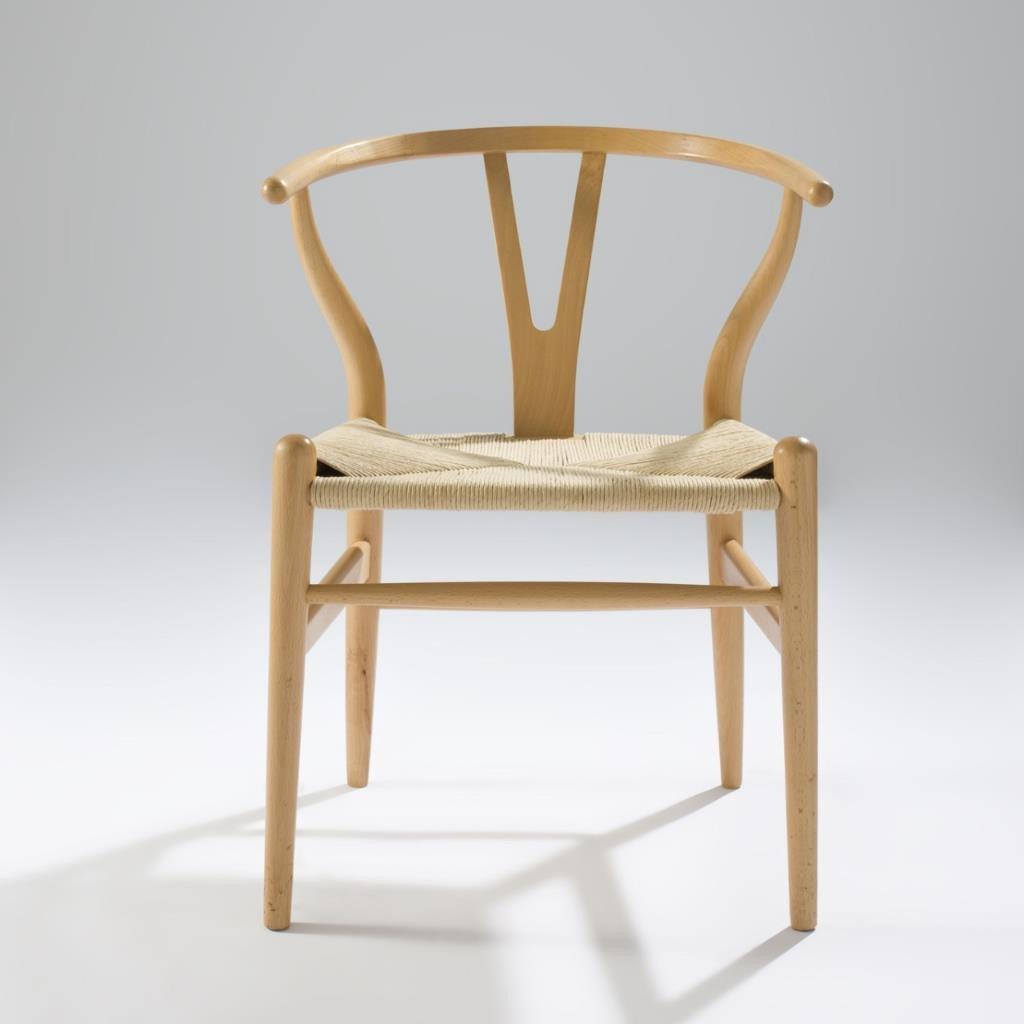 Hans Wegner Solid Wood Wish Bone Dining Chair With Leather