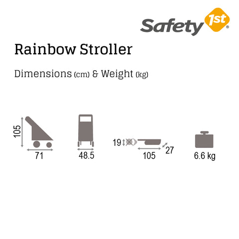 Safety 1st Rainbow Stroller - Dimensions