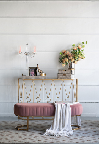pink accent bench