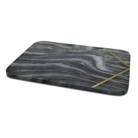 Cheese Board Grey Marble Rectangle With Brass Inlayed
