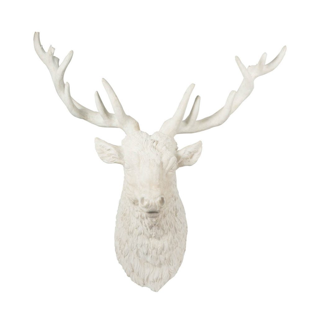 a white head deer wall art made of resin