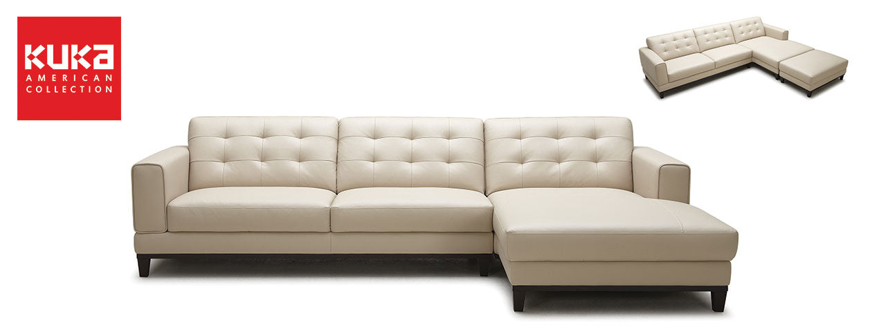 Picketrail kuka american top grain leather and fabric for Kuka sectional leather sofa