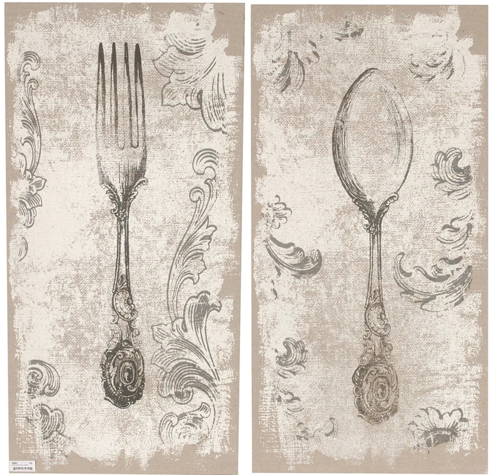 a set of vintage style fork and spoon licensed print
