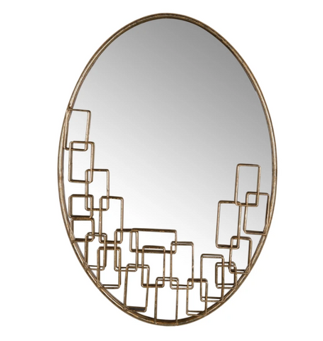 hollywood glam oval gold mirror