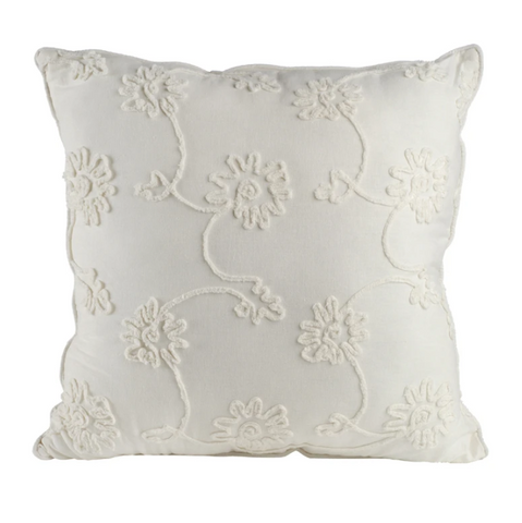 white embroidered flowers square pillow