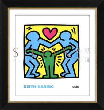 an untitled keith haring licensed print with black and gold accent frame