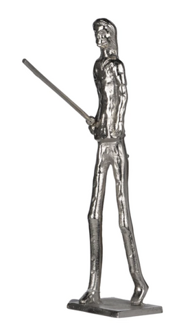 prehistoric silver lady sculpture with spear