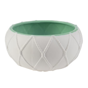 Accessories - AB-0725 -NAUTICAL KNOT POT, SEAFOAM INSIDE