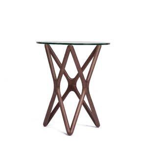 TRIPLE-X Round Glasstop Side Table (MCS-SD9153C-WAL)
