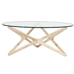 TRIPLE-X 1.0m Round Glasstop Dining Table (MCS-SD15221A-OAK)