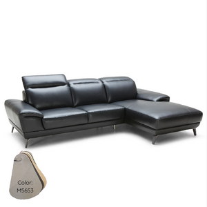 KUKA #5186 Top Grain L-Shaped Leather Sofa (Color: M5653)