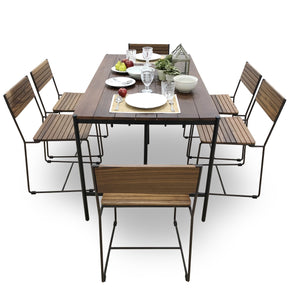 Hiro Solid Wood Dining Set (available in 5-piece & 7-piece sets) - Picket&Rail Singapore's Premium Furniture Retailer