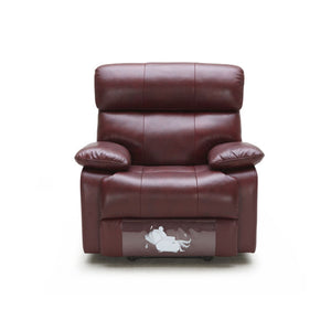 KUKA #2559 Top-Grain 1-Seater Manual Recliner Leather Sofa (Color: M9015)