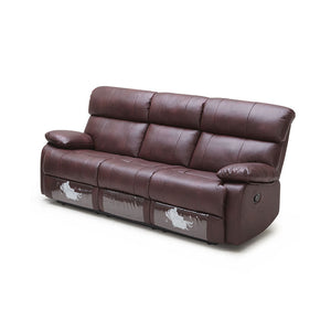 KUKA #2559 Top-Grain 3-Seater Manual Recliner Leather Sofa (Color: M9015)