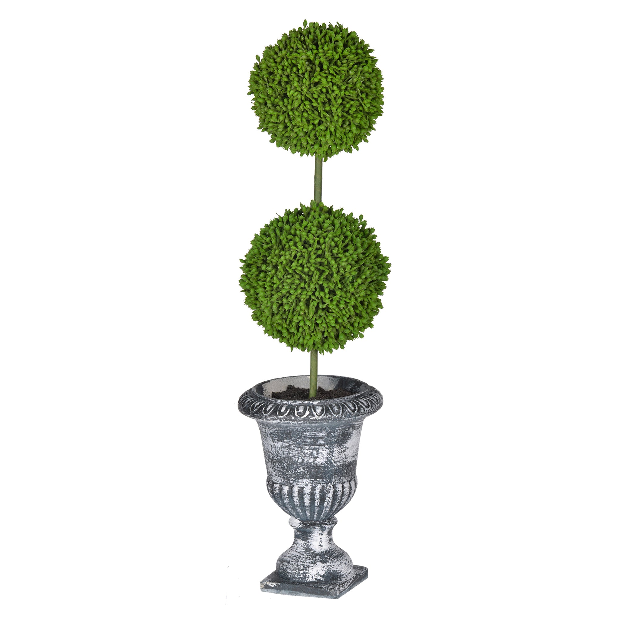 AB-29572-BLAC  TWO-TIER ROUND FAUX TOPIARY - BLACK POT
