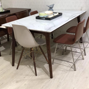 DAD 1.6m White Marble-Top Dining Table in Solid Beech Stained in Walnut (MCS-DT18303-WAL)