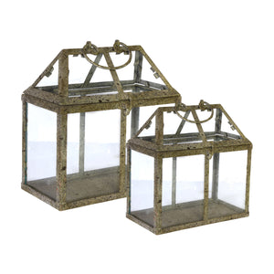 "AB-30951 S/2 Philippa Stocky Greenhouses L:11X7X10.5"" S:8.5X4.5X9"""