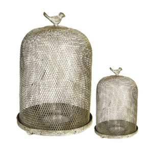 "AB-30969  S/2 Ophira Golden Sparrow Mesh Candle Holders L:D8.5X13"" S:D7X10"""