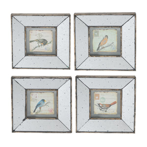 "AB-32838 S/4 12x1.38x12"" Simeon Square Framed Bird Prints, Medium"