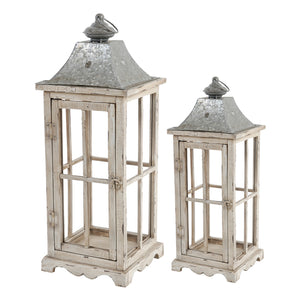 AB-32877 S/2 Evelyn Enclosed Lanterns with Handle, Square