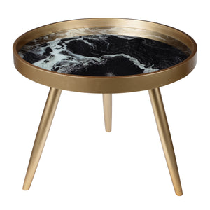 AB-41010 Livonia Side Table - Black Marble