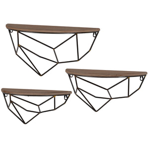 AB-41159  S/3 WOOD & METAL WALL SHELF
