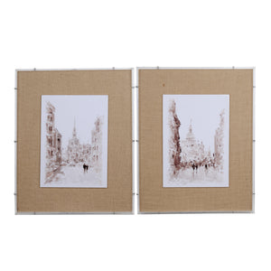 AB-42100 EUROPEAN CITIES WATERCOLOR FRAMED PRINTS