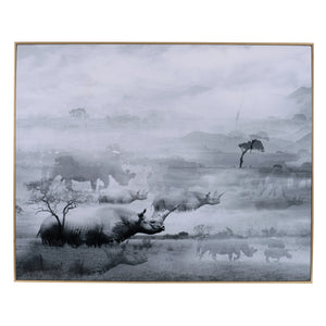 AB-42128 FOGGY WATERSCAPE PRINT W/ FRAME