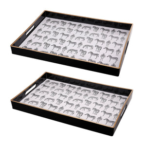 AB-43302 S/2 Quinn Rectangular Trays, Zebras