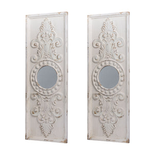 "AB-43983-DS  S/2 17x48"" Southern Living French Country Antique White Two Panel Wall Decor"