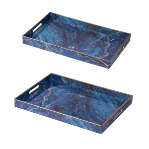 AB-44043  S/2 Modern Chic Blue Rectangular Trays