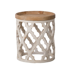 AB-44523-DS  Large Distressed White Side Table