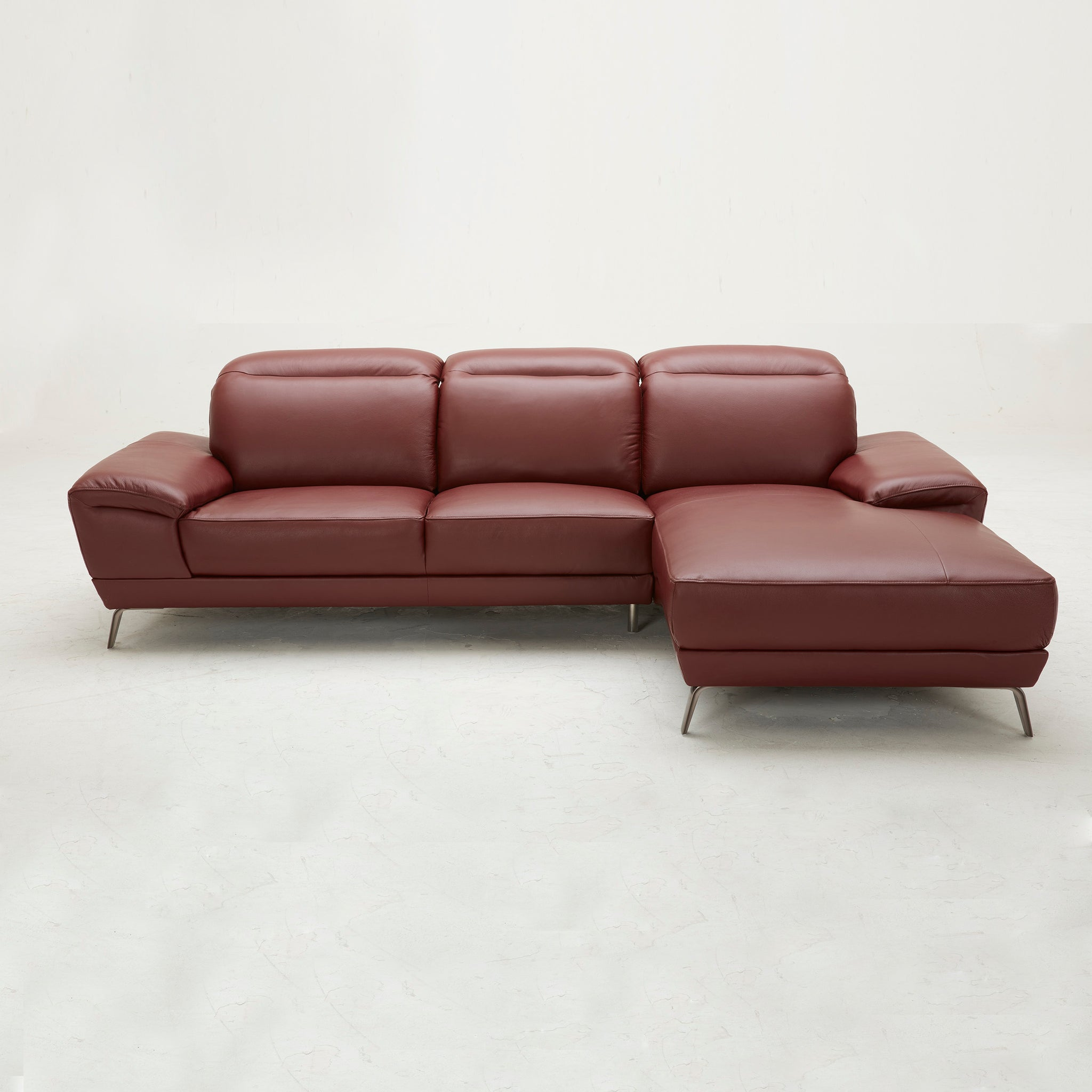 KUKA #5186 Top Grain L-Shaped Leather Sofa (Color: M5660)
