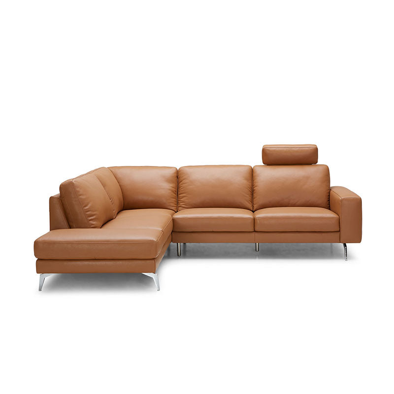 KUKA #5189B Top-Grain L-Shaped Leather Sofa with 1 Headrest (Color: M5658)