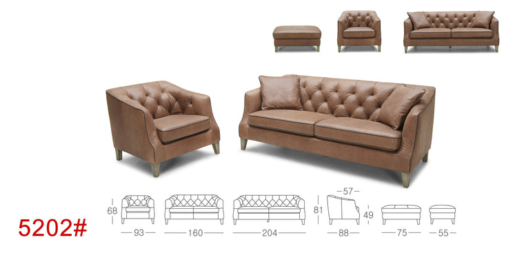 Cornell #5202 KUKA M.5 Leather Sofa (1 Seater, 2 Seater, 3 Seater, Ottoman) - Picket&Rail Singapore's Premium Furniture Retailer
