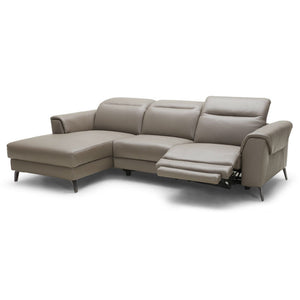 KUKA #5366 Half Leather Recliner Sofa (L shape Chaise Lounge)( M Series ) (I)
