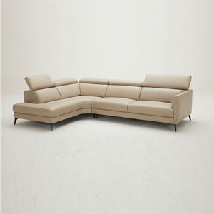 KUKA #5608 Top Grain L-Shaped Corner Sofa (Color: NL5103)