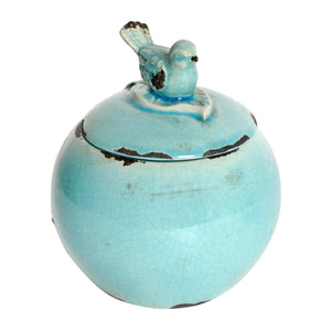 AB-66828-BLUE  Cora Lidded Round Bowl with Bird Finial, Turquoise
