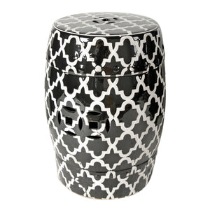 AB-69634 Finley Indoor/Outdoor Patterned Stool, Black/White